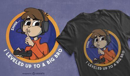 Suba de nível design de camiseta para irmão grande