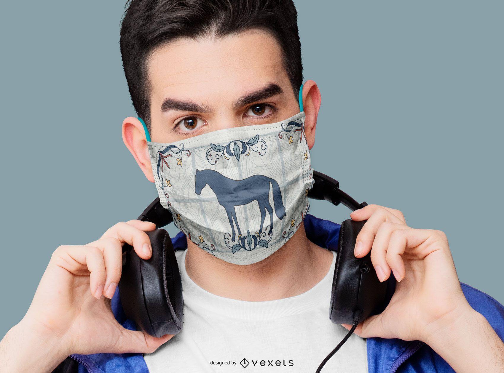Diseño de máscara facial de silueta de caballo