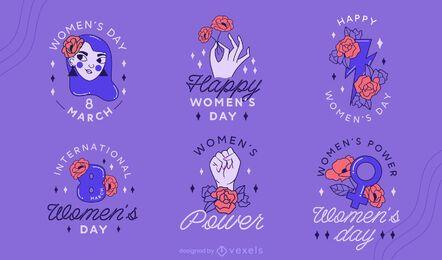 Conjunto de design de crachá do Dia da Mulher