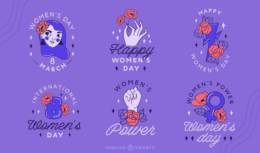 Women's day badge design set