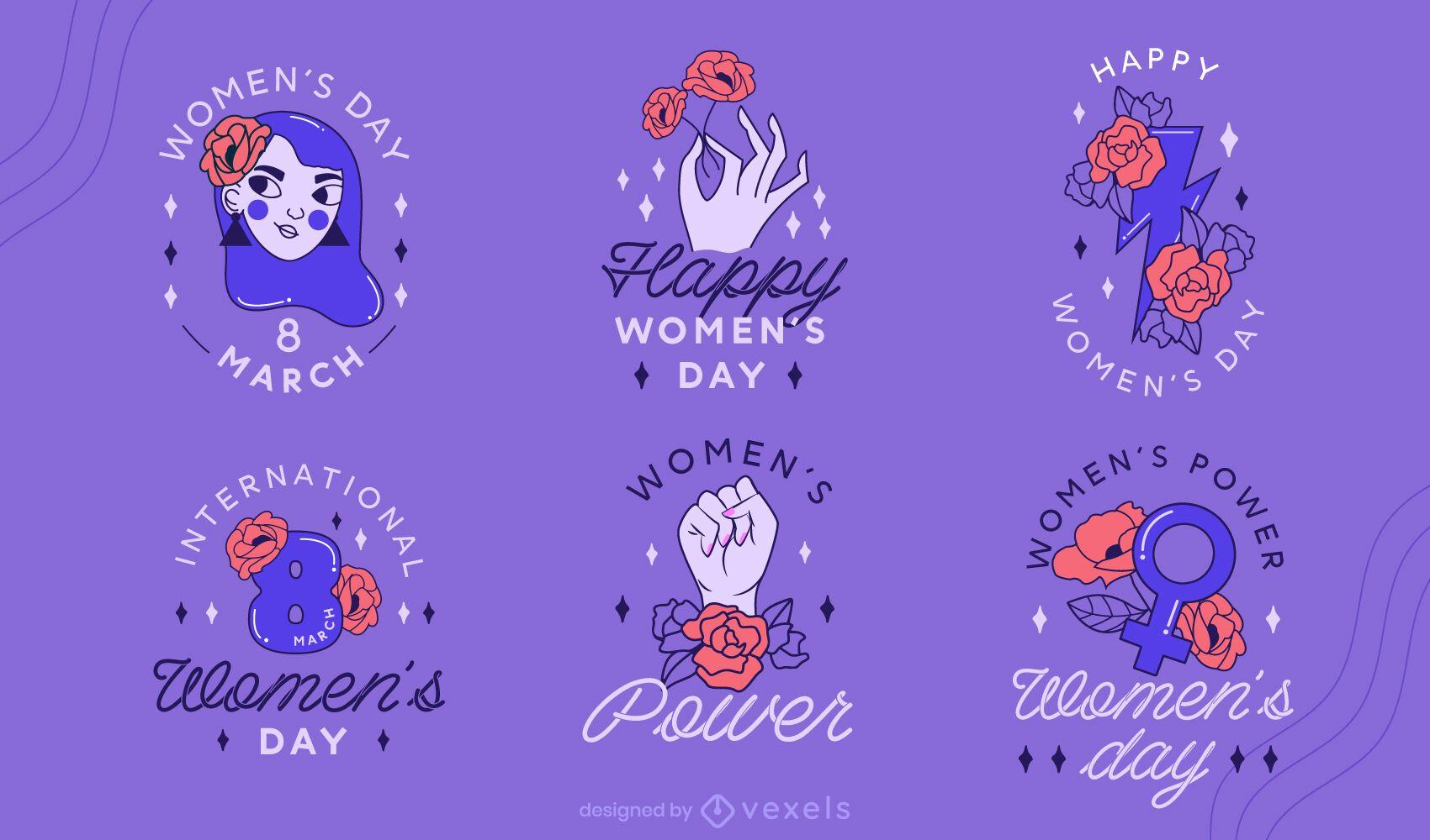 Conjunto de design de crach? do Dia da Mulher