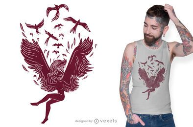 Falling angel t-shirt design