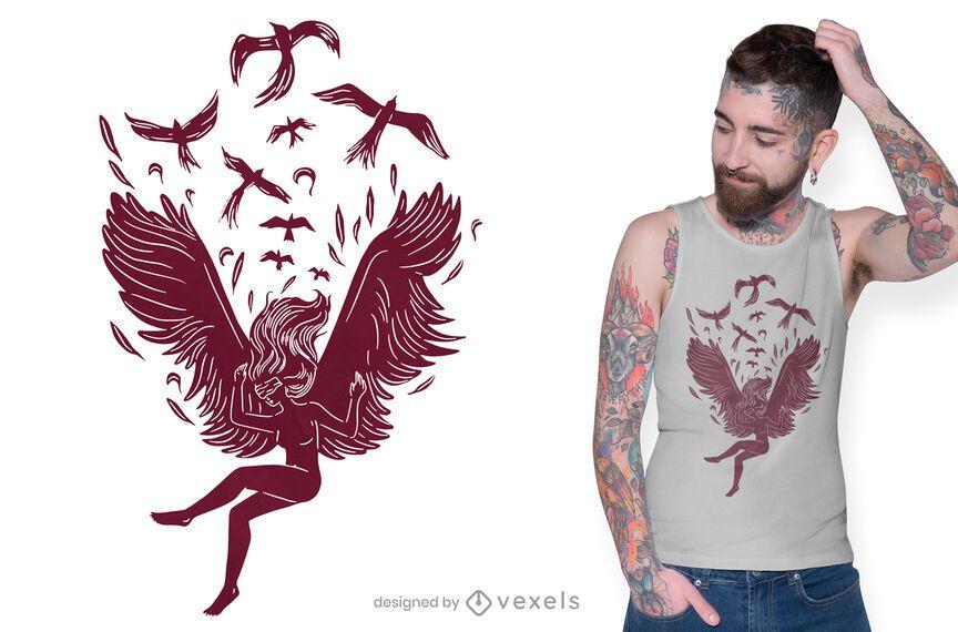 Diseño de camiseta de ángel cayendo