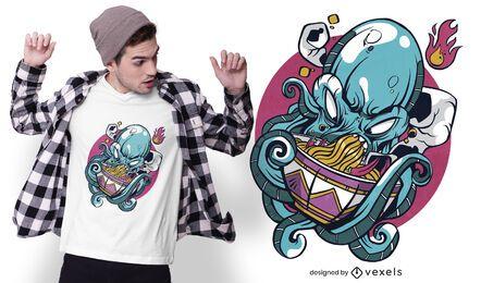 Diseño de camiseta de pulpo comiendo ramen.
