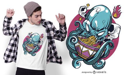 Octopus eating ramen t-shirt design