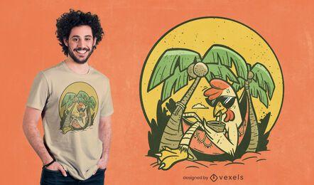 Diseño de camiseta de pollo relajado.