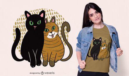 Diseño de camiseta de dos gatos.