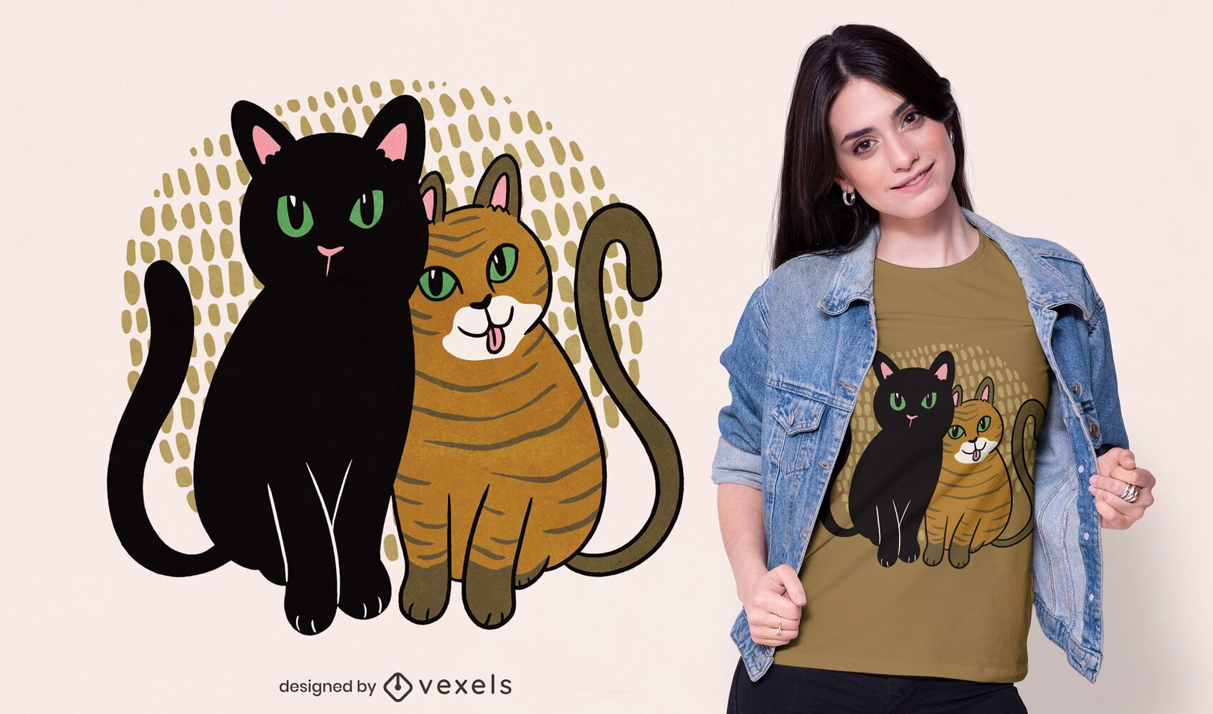 Two cats t-shirt design