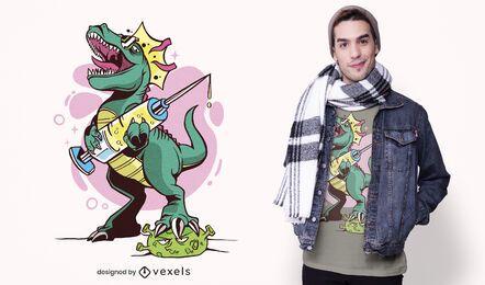 Diseño de camiseta de coronavirus de dinosaurio