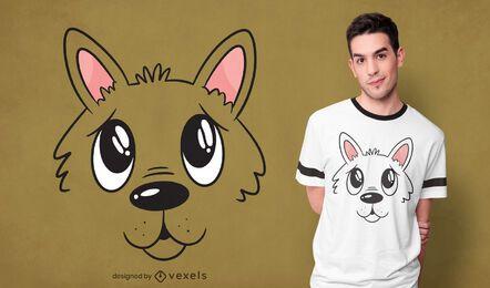Design de t-shirt com cara de cachorro fofo