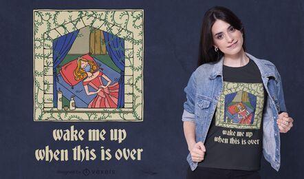 Diseño de camiseta de princesa durmiente en cuarentena.