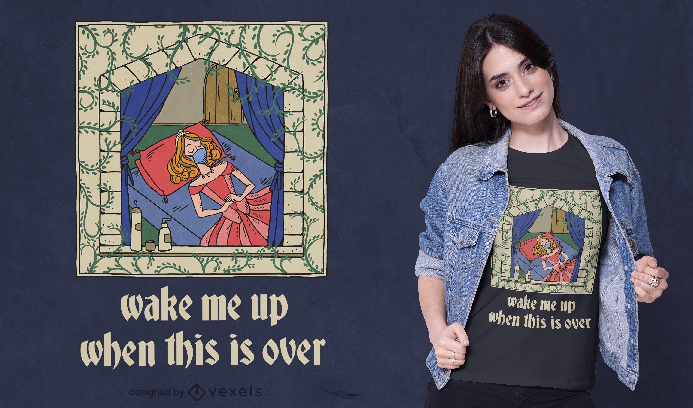 Quarantine sleeping princess t-shirt design
