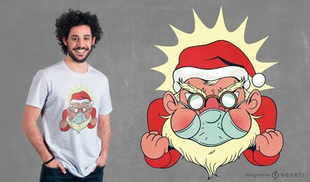 Design de camiseta com máscara facial do Papai Noel irritado