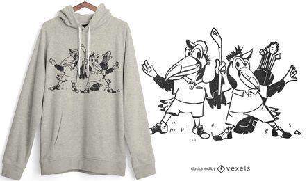 Tanzen Golf Vögel T-Shirt Design