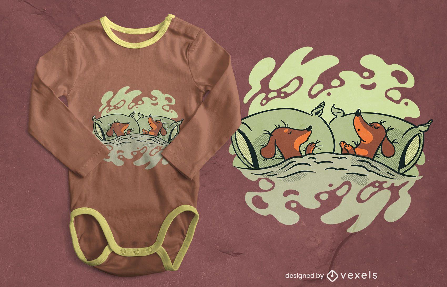 Sleeping dachshunds t-shirt design