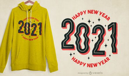 2021 Design de t-shirt de feliz ano novo