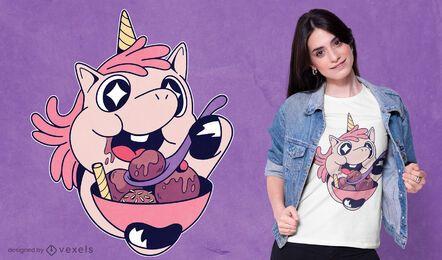 Diseño de camiseta unicornio comiendo helado