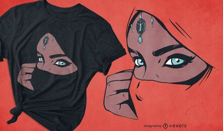 Design de camiseta feminina árabe