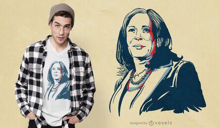 Diseño de camiseta de retrato de kamala harris