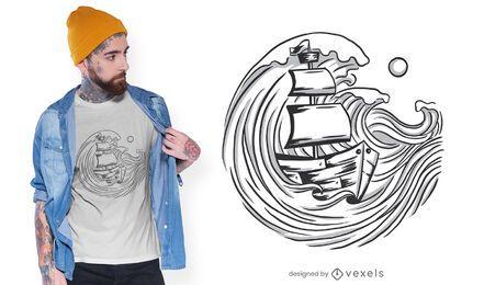 Diseño de camiseta de barco y olas.