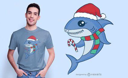 Lindo diseño de camiseta de tiburón navideño