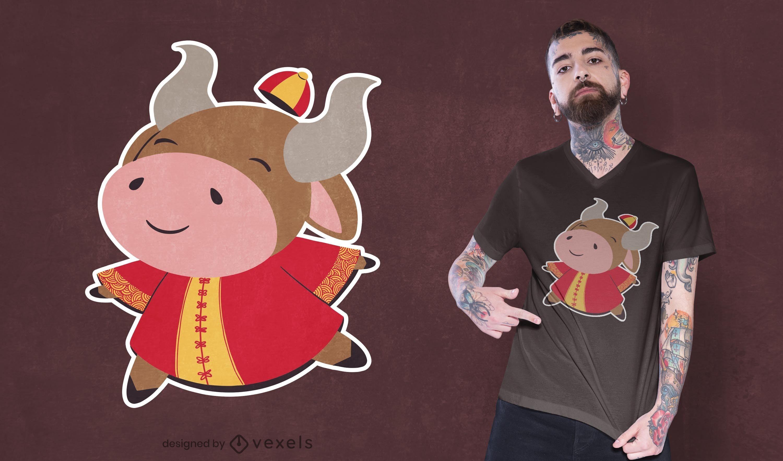 Design fofo de t-shirt de boi chinês