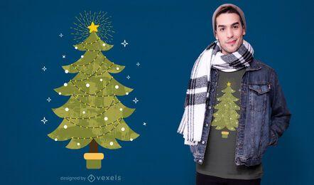 Diseño de camiseta de árbol de navidad brillante