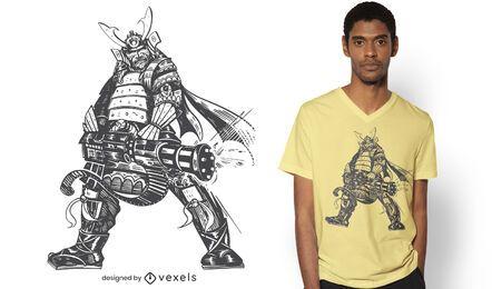 Samurai with gatling t-shirt design