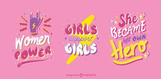 Conjunto de insignias brillantes del día de la mujer