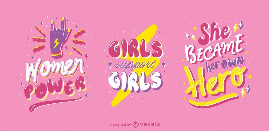 Glossy women's day badge set