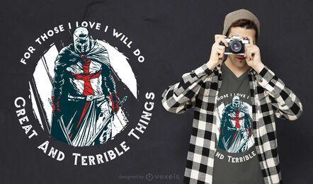 Diseño de camiseta de cita de caballero templario