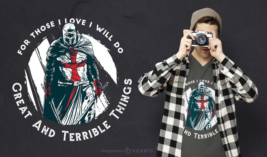 Desenho de camiseta com citação de Cavaleiro Templário