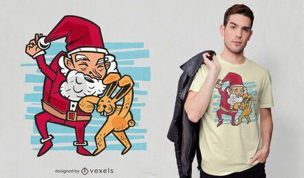 Coelhinho da Páscoa chutando o Papai Noel com design de camiseta