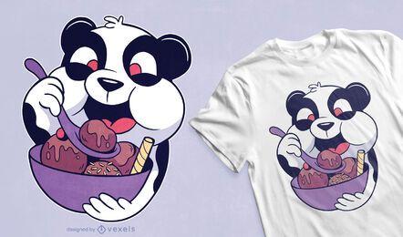 Diseño de camiseta de panda comiendo helado