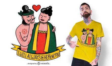 Sempre aqui para você design de camisetas