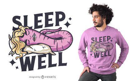 Diseño de camiseta de gusano de dormir bien