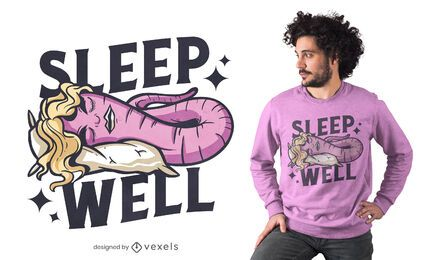 Sleep well worm t-shirt design