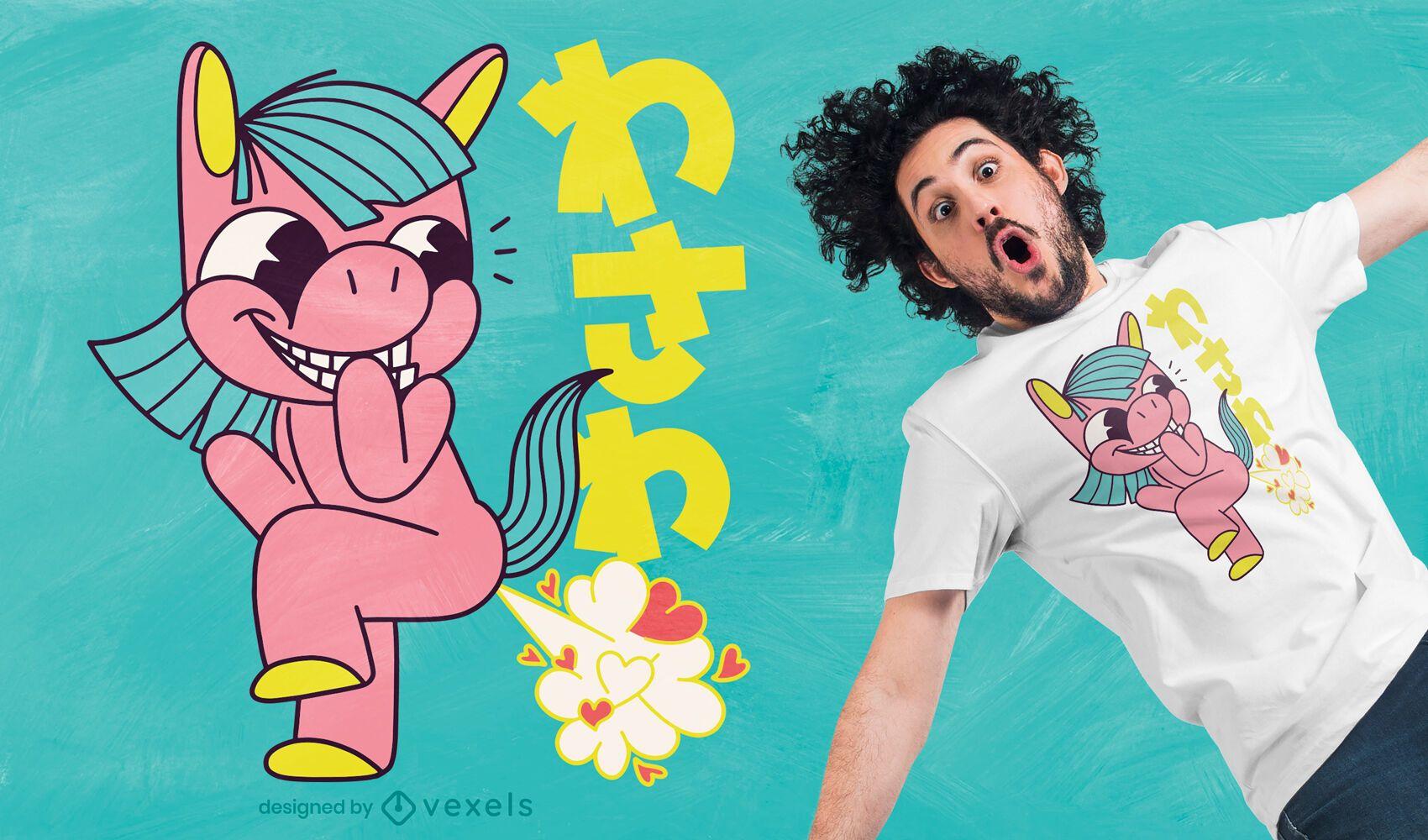 Diseño de camiseta de pedo de unicornio