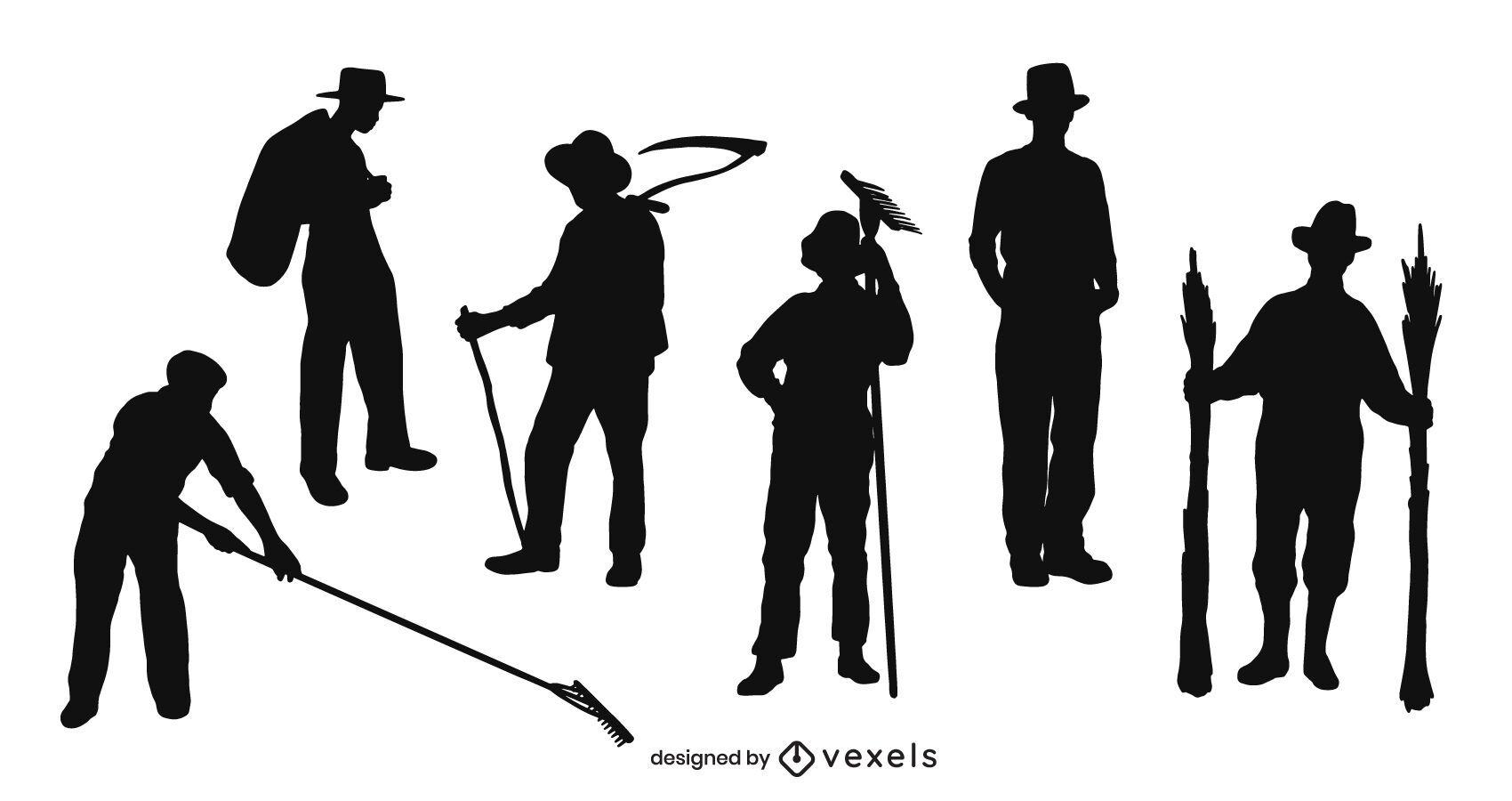 Farmer silhouette set