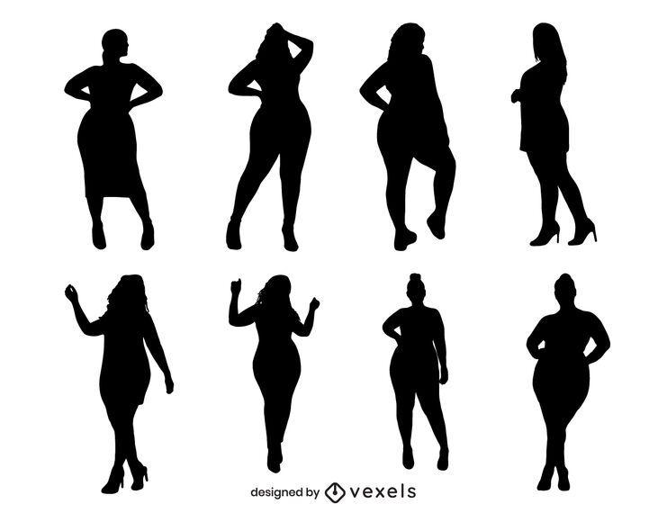 Conjunto de mulheres posando de silhueta