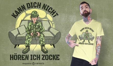 Diseño de camiseta de soldado de juegos.