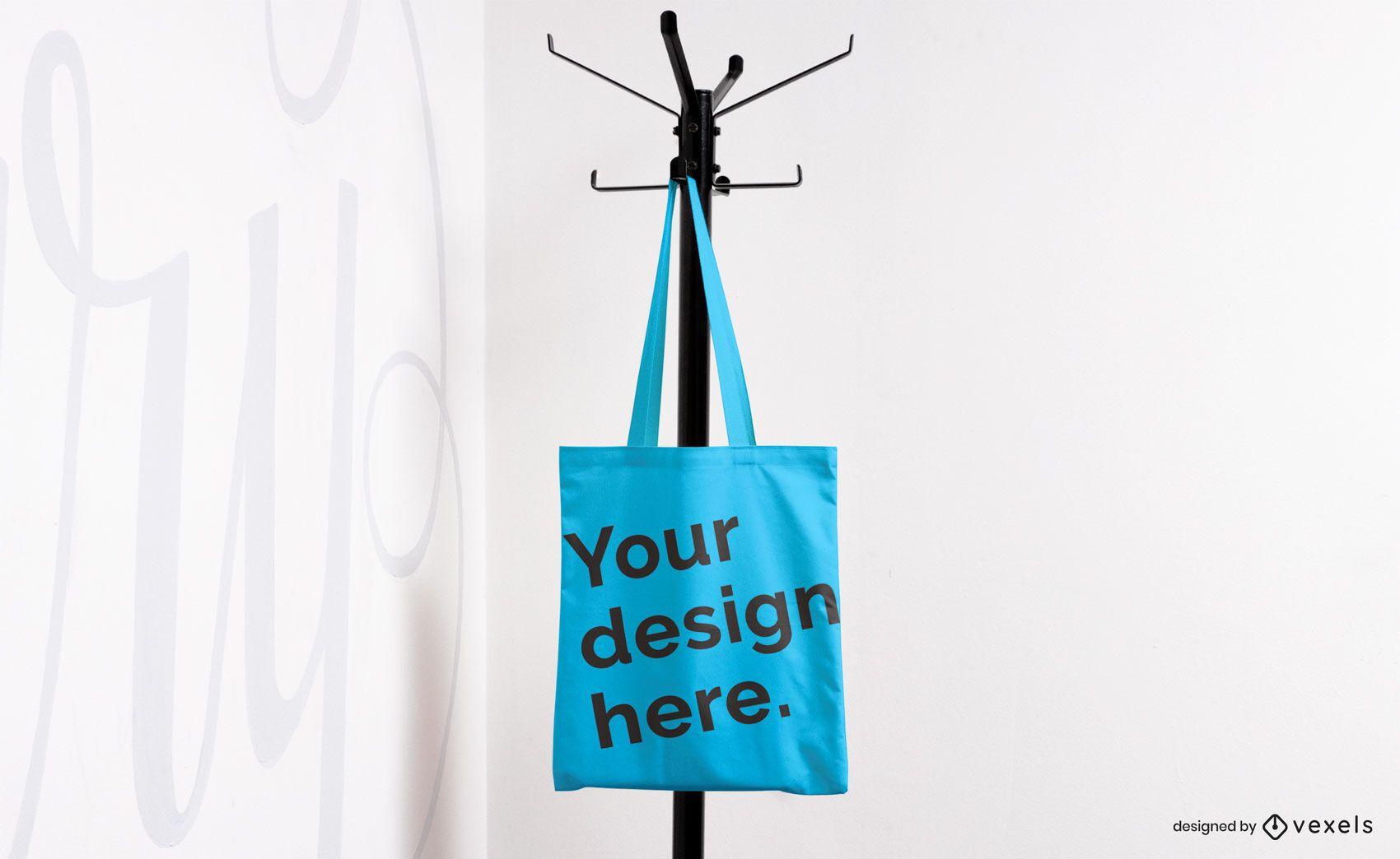 Tote bag on coat rack mockup