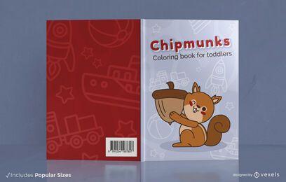 Diseño de portada de libro para colorear de ardilla