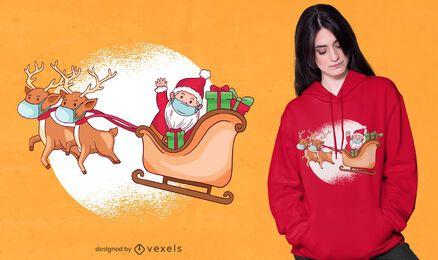 Lindo diseño de camiseta de santa y renos.