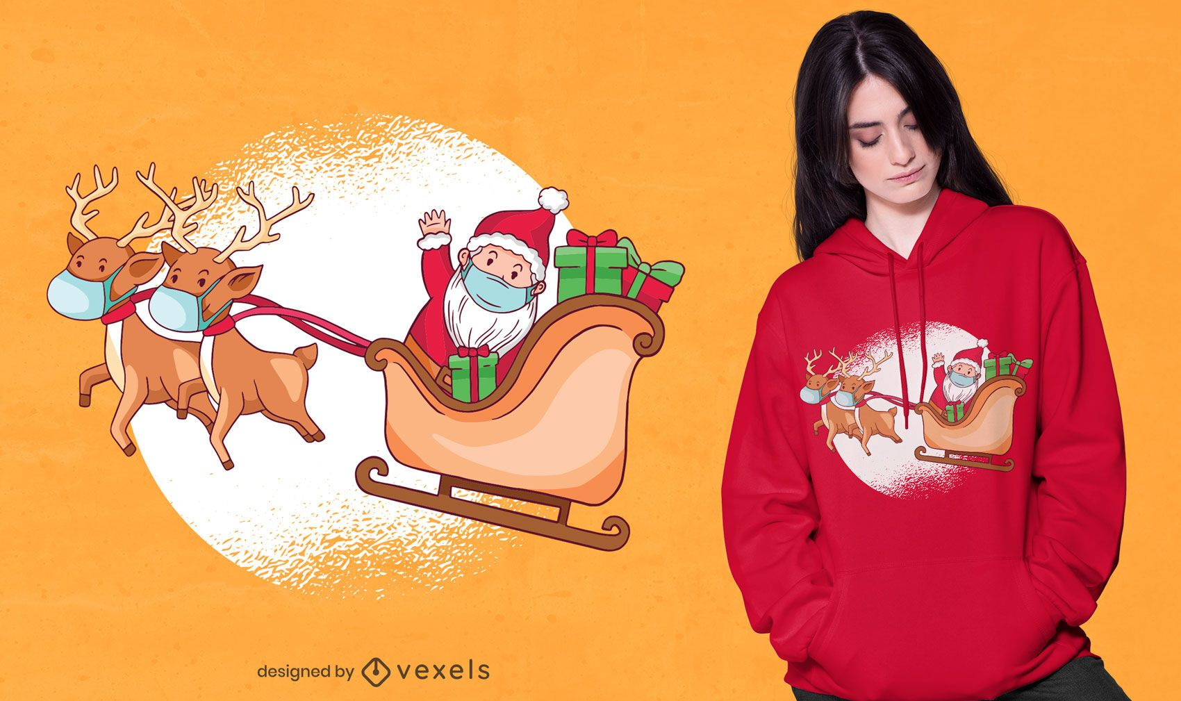 Cute santa and reindeers t-shirt design