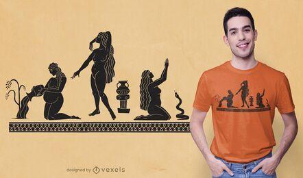 Design de camisetas para três mulheres