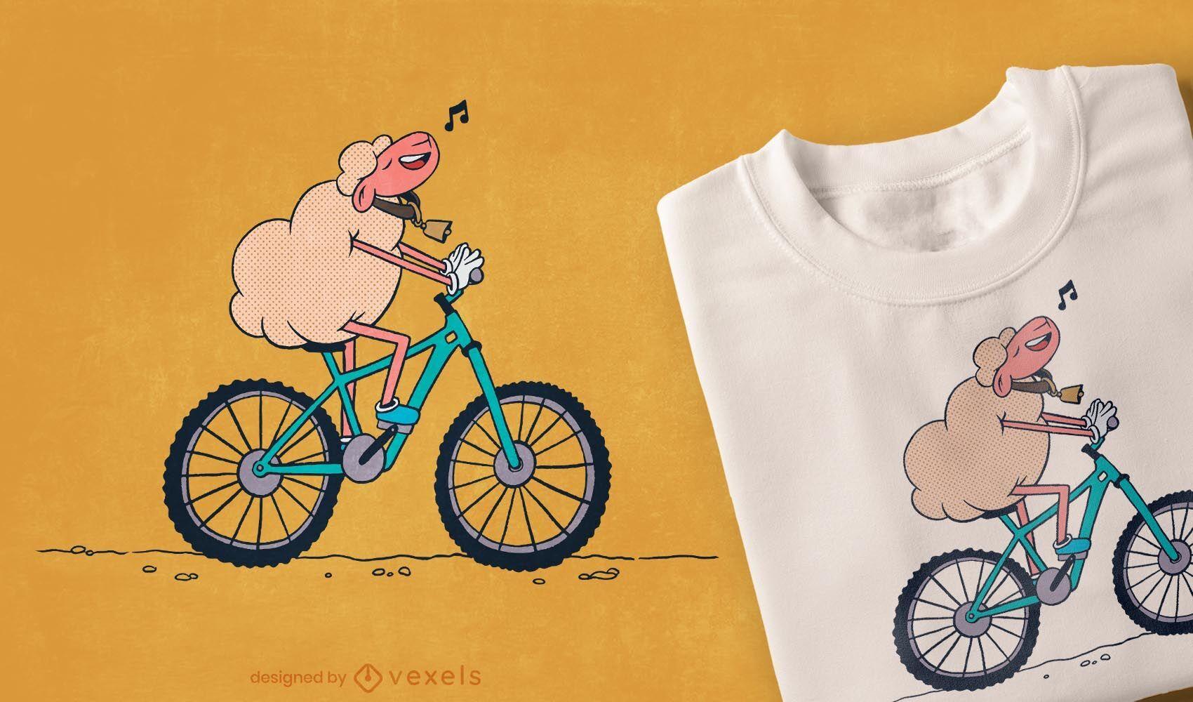 Diseño de camiseta de oveja bicicleta.
