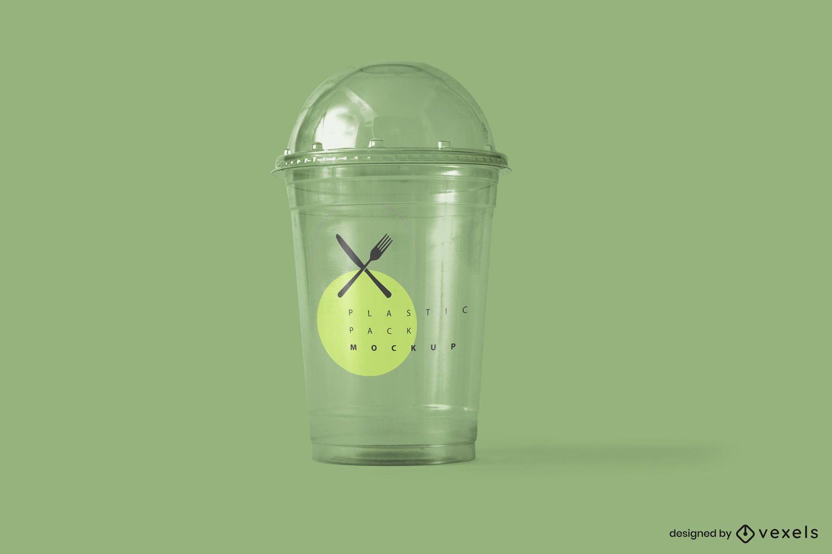 Diseño de maqueta de envases de vasos de plástico