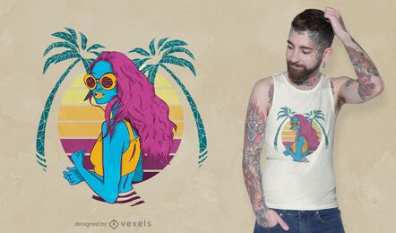 Diseño de camiseta de niña tropical retro