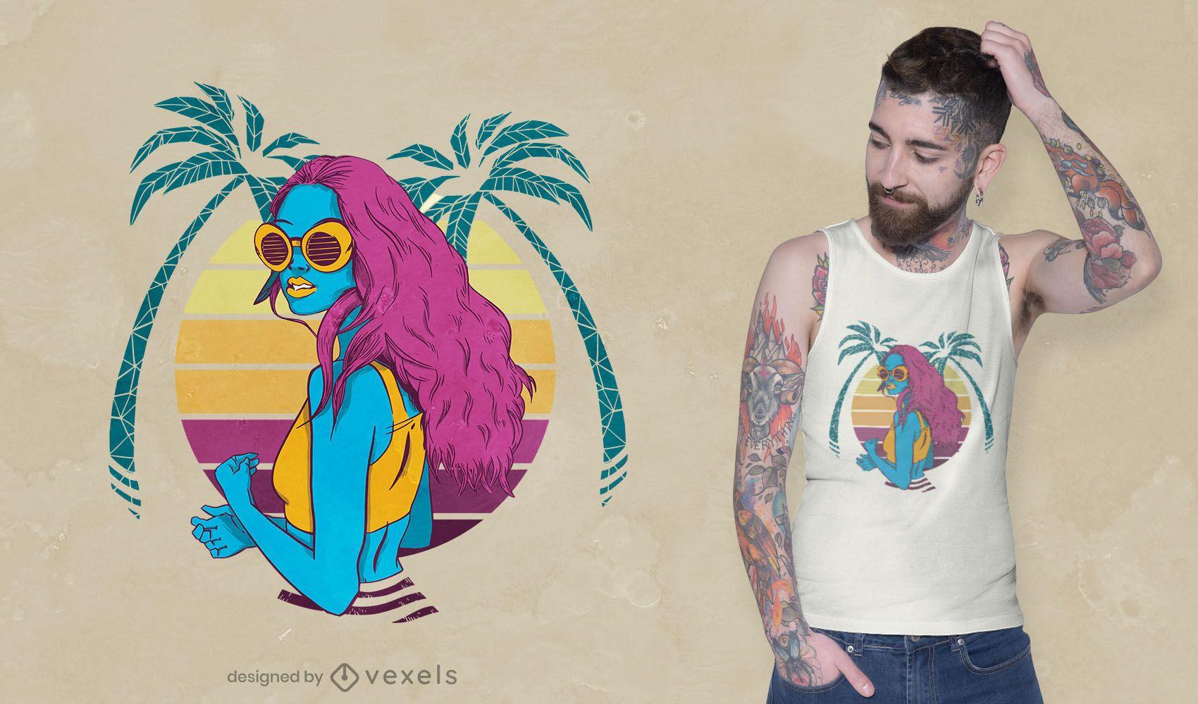 Dise?o de camiseta de ni?a tropical retro